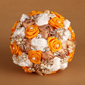 2016 New Artificial Silk Rose Flower Elegant Orange Wedding Bouquet Bridal bouquets buque de noiva Brooch bouquet  FW163