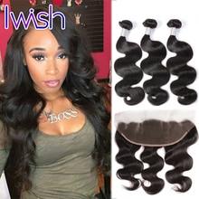 7A Ear to Ear Lace Frontal Closure with Human Hair Bundles Brazilian Virgin Hair with Closure Iwish Mink Brazilian Body Wave
