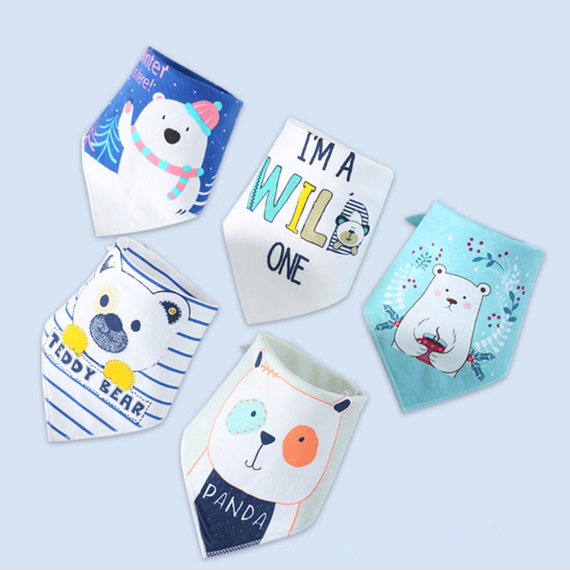 Baby Bibs for Boy Girl Bandana Bib Burp Cloth Print Animal Triangle Cotton Baby Scarf Meal Collar Burp Baby Accessories finger print bandana