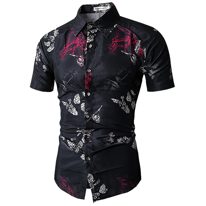 2019 Summer Short Sleeve Shirt Men Clothes Mens New Fashion Printing Shirts Casual Slim Fit Cotton Chemise Homme