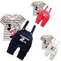 2016 Hot Baby Girls Clothing Cotton Short Sleeve T-shirt Lovely Jeans 3 Colors 4 Size Optional Pretty Cute Minnie Children Suits