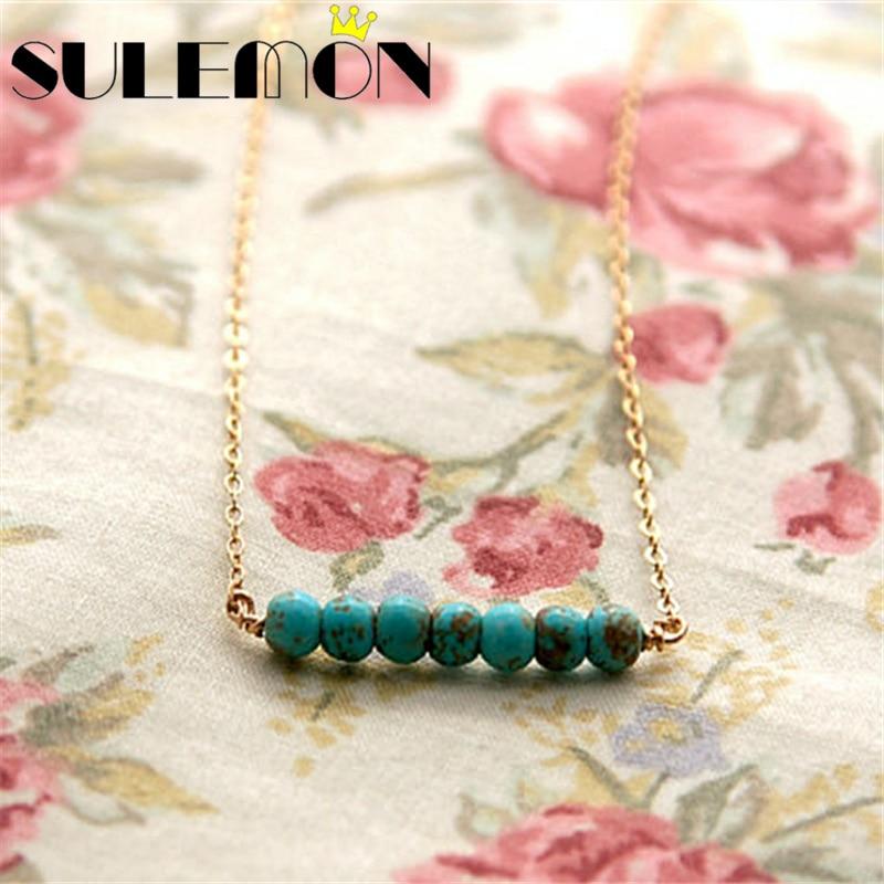 Türkis Halskette für Frauen Gold und Silber Farbe grüne Perlen - Modeschmuck - Foto 2