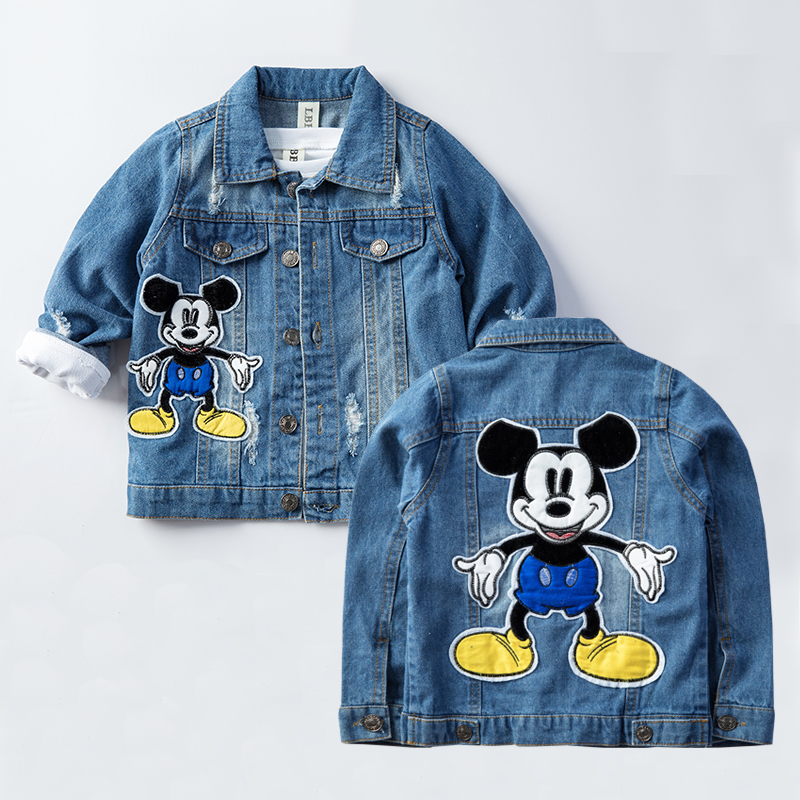 2020 Mickey Denim Jacket For Boys Fashion Coats Children Clothing Autumn Baby Girls Clothes Outerwear Cartoon Jean Jackets Coat 2