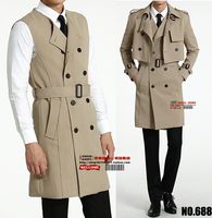 new style men's long coat men's fashion slim gentleman two piece trench coat autumn jackets and coats men ! S 5XL free shipping