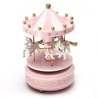 Merry Go Round Wooden Music Box Decor Carousel horse Music Box Christmas Wedding Birthday Gift 2 Colors Drop Shipping