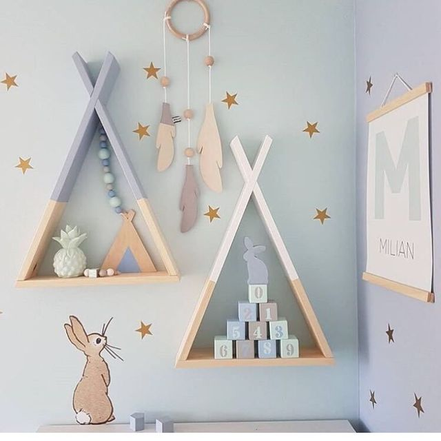 Nordic Style Wooden Triangle Shelf Lovely Colors Shelf Wall Hanging Trigon  Storage Book Shelf Home Kids
