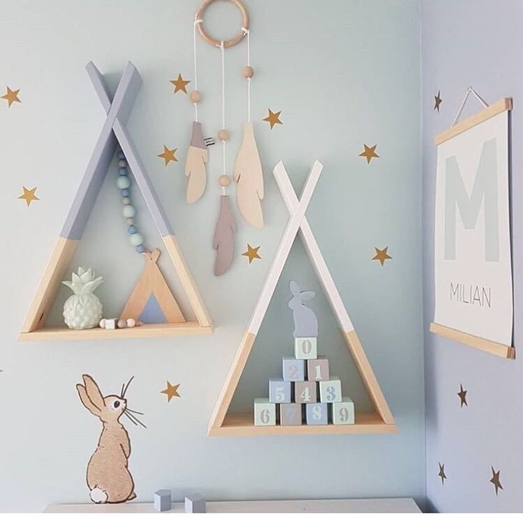 Nordic Style Wooden Triangle Shelf Lovely Colors Shelf Wall Hanging Trigon Storage Book Shelf Home Kids Baby Room DIY Decor Gift