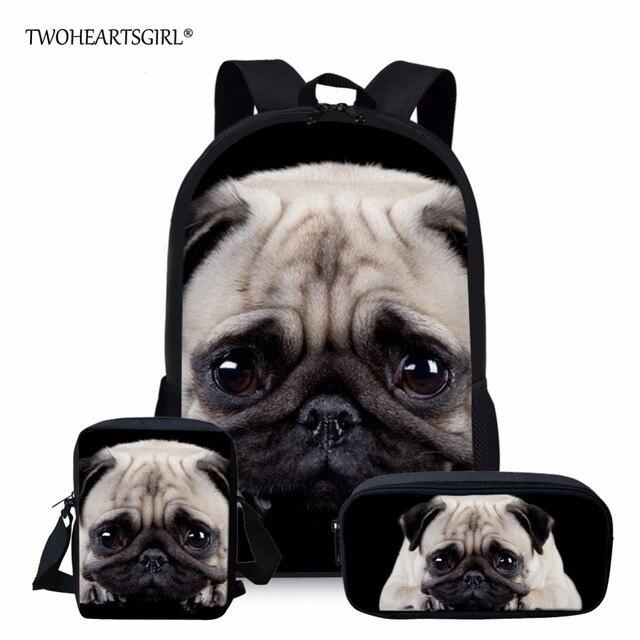 3PCS/SET Puppy Pug Printing Backpacks Black Children Kids Bookbag Girls  School Backbag Cute Mochila