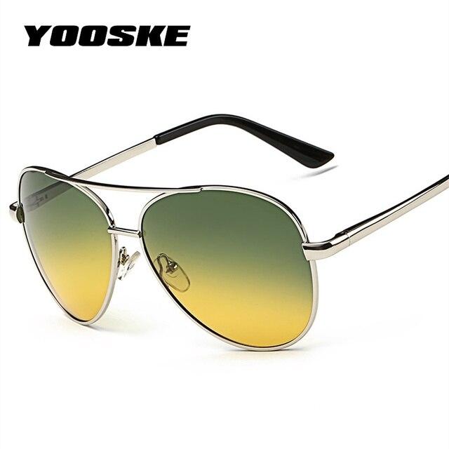fd72a119cce YOOSKE Classic Pilot Day Night Vision HD Sunglasses Men Women Goggles  Glasses UV400 Driver Night Driving Sun Glasses