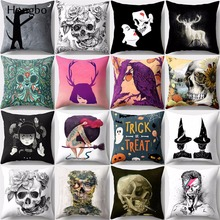 Hongbo 1 Pcs Pillow case Flower Skull Elk Halloween Polyester Cushion Cover for Sofa Decorative