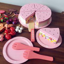 40 шт., деревянные кухонные игрушки для приготовления пищи для детей, кухонные игрушки, клубника, торт на день рождения, фруктовые игрушки, рождественские подарки GW77