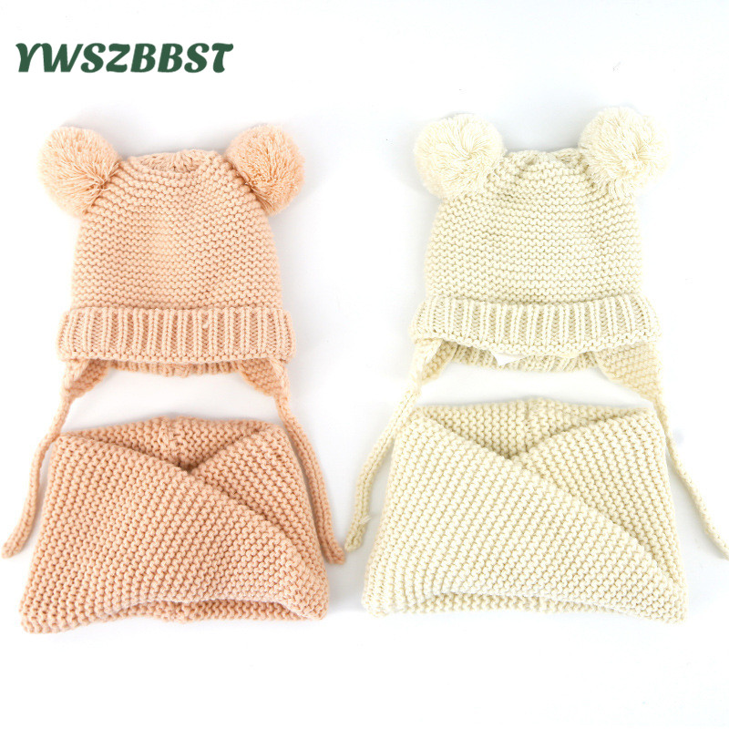 Fashion Baby Hat Scarf set Baby Hat for Girls Boys Crochet Autumn Winter Children Kids Cap Scarf sets for 0 to 4 Years old children kids winter hat scarf set double raccoon fur ball hat pom pom beanies baby girls warm cap scarf set hat for baby girl