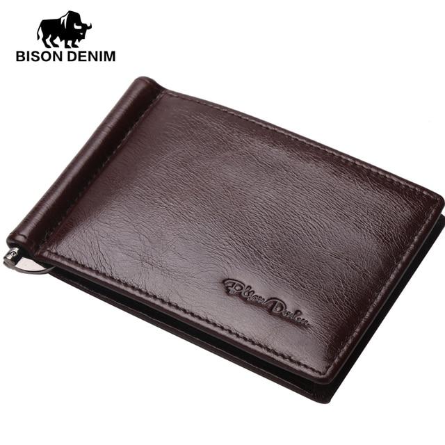 BISON DENIM Genuine Leather Mini wallet Men Zipper Coin Pocket Dollar money clip card holder brown yellow vintage wallets W9330