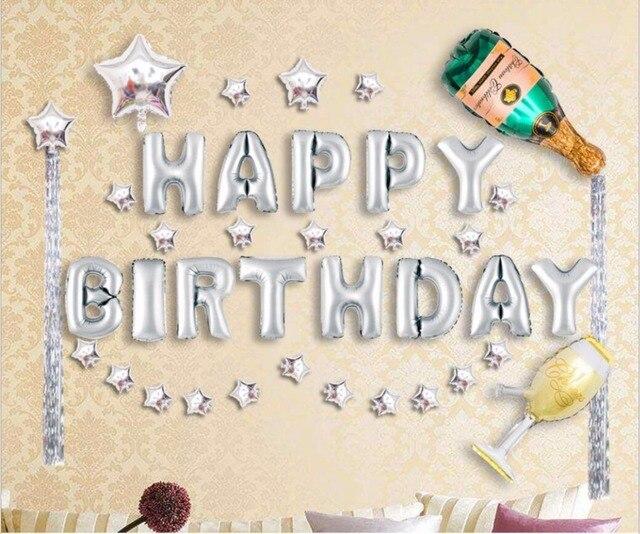 41 Pz Set Buon Compleanno Con Bottiglia Di Champagne Foil Palloncini
