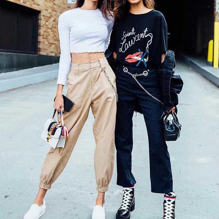 2019 moda mujer pantalones de camuflaje de cintura alta pantalones sueltos Joggers mujeres Cardo pantalones cadena mujeres Pantalones Mujer Pantalones