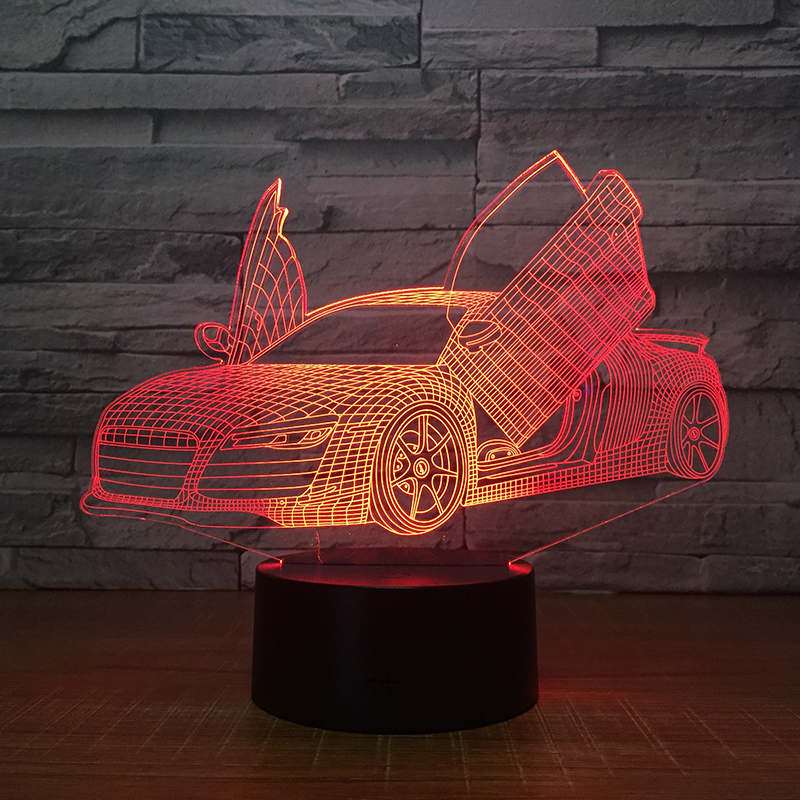 Lumiwell Car 3D Light LED Table Light Night Light Remote control 7 Colors change AA battery RGB decoration night lamp for home