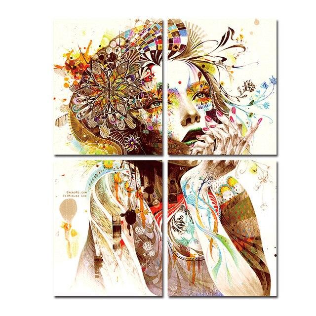 Coloré Fille Toile Peintures Pour Chambre Mur Moderne Peintures Prêt