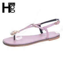 Hee Grand/женские босоножки Пряжка Сладкий металлические бисером Вьетнамки летняя плоская подошва Женская обувь Размеры 39 XWZ4220