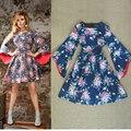 ALTA QUALIDADE Novo 2016 Moda Russa Vestido Alargamento Da Luva Do Vintage Charme Floral Impressão Vestido Ocasional das Mulheres