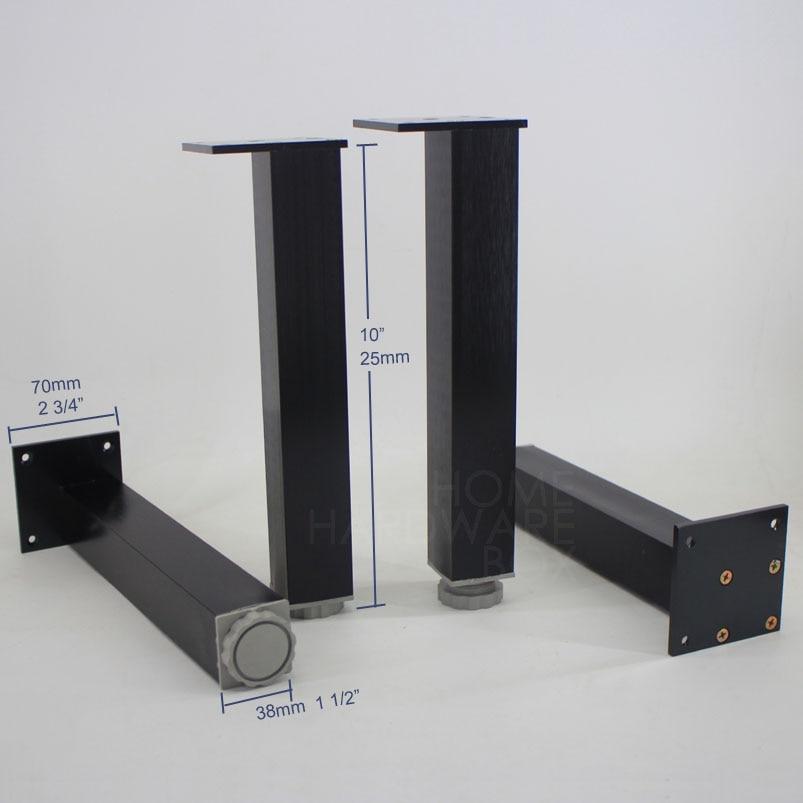 25cm 4 Pc Black Metal Legs Adjustable Height Square Aluminum Furniture Cabinet Feet Satin 10 In