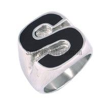 Black Superman S Ring Stainless Steel Jewelry Fashion Motor Biker Men Boy Ring Wholesale SWR0068