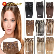 70g-120g Virgin Remy Human Hair Clip In Human Hair Extensions Full Head Black And Bleach Blonde Color Clip In Hair 20 Colors