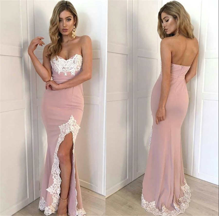 Sexy Blush Mermaid   Bridesmaid     Dresses   Sweetheart High Split Floor Length Sleeveless Summer Wedding Party Gowns Custom Made