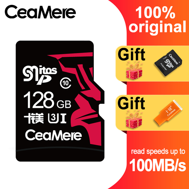 CeaMere MICRO SD256GB 128GB GB U3 64 UHS 3 Class10 UHS 1 cartão Micro sd cartão de memória flash Cartão de Memória Microsd TF /Cartões SD para Tablet