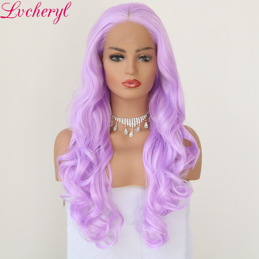 Lvcheryl Trendy Natural Long Body wave Purple High Temperature Fiber Cosplay Hair Heat Resistant Synthetic Front