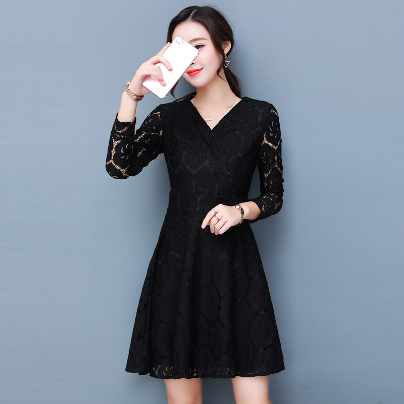 han queen Dresses New Autumn Fashion Hollow Out V-neck Lace Dress Party High Quality Women Long Sleeve Slim Casual Dresses