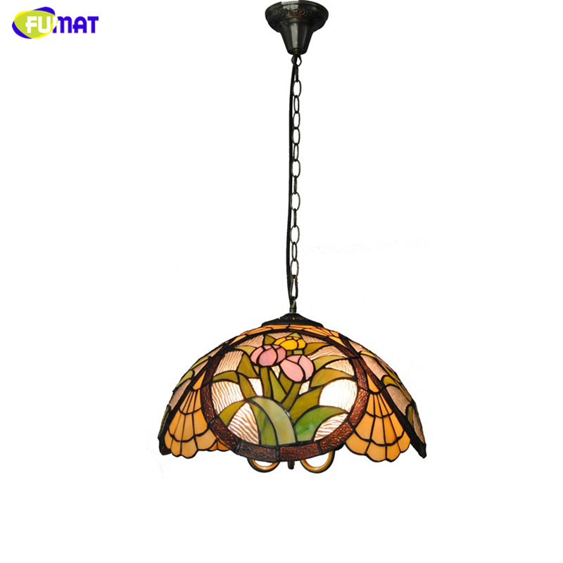 Us 321 96 15 Off Fuamt Tiffany Glass Pendant Lamps Pastoral Tulip Flowers Stained Glass Light For Living Room Dining Room Home Decor Lamps In
