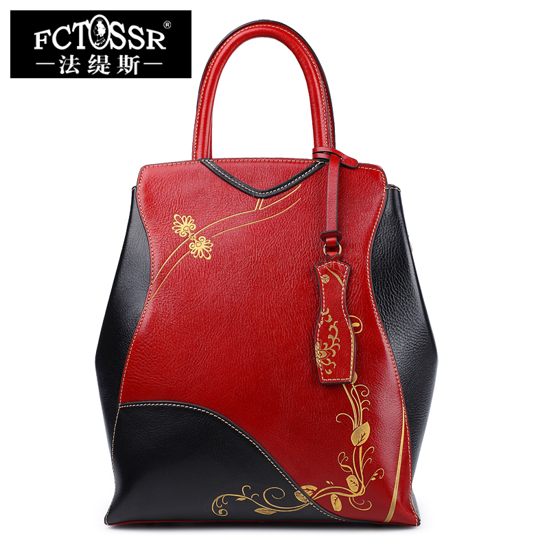 2018 Women Handbag Hand Paint Genuine Leather Ladies Shoulder Sling Bag Fashion Messenger Bags Cheongsam Design Red/Black Tote