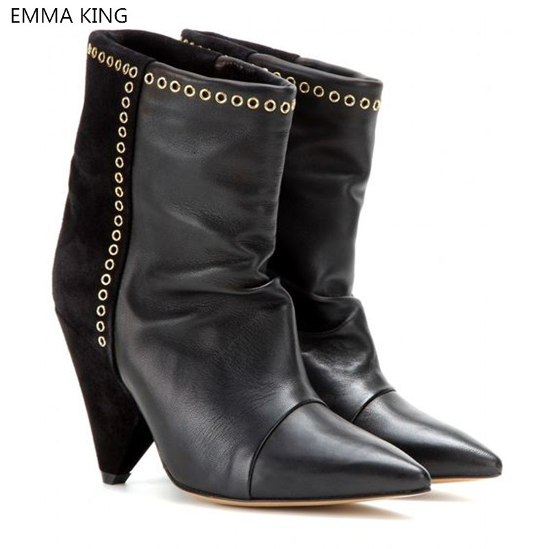 New Black Boots Women Strange Heels Pointed Toe Leather Ankle Boots Women Shoes Metal Decorated Female Botas Mujer 2019 SpringNew Black Boots Women Strange Heels Pointed Toe Leather Ankle Boots Women Shoes Metal Decorated Female Botas Mujer 2019 Spring