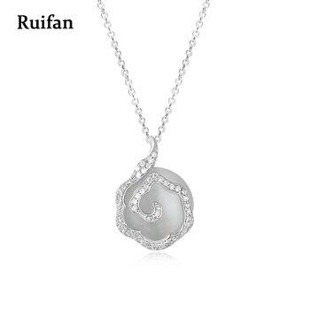 9106da0e9cdc Ruifan de lujo CZ cadena 925 de plata esterlina gran Opal colgante collar  para las señoras
