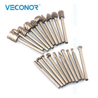 Veconor 20pcs Rotary Point Die Grinder Round Shank Cutter Dremel Drill Bits Set Multifunctional Tools For