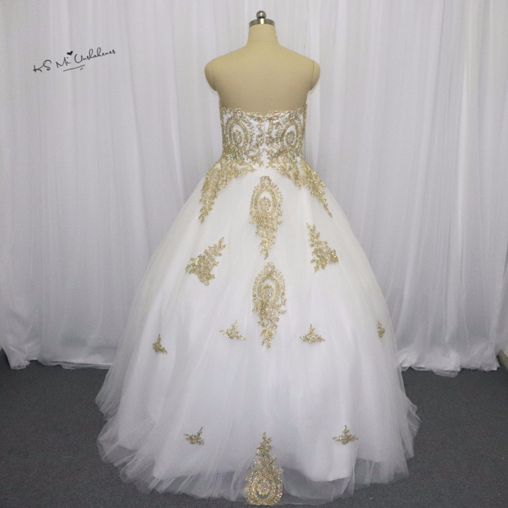 White Gold Gothic Wedding Dress Lace Ball Gown Bride Dresses 2016 ...