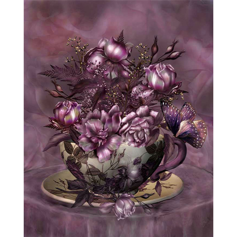 DIY 3D Diamonds Embroidery Butterflies play Magnolia square Diamond Painting Cross Stitch Kits Diamond Mosaic Home Decor A5539R