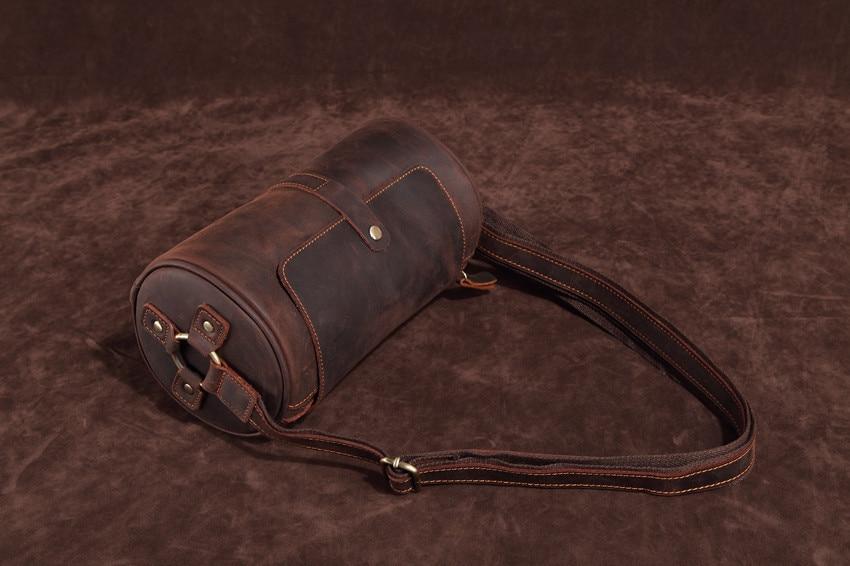 B Retro Cylinder shoulder bag solid color portable diagonal postman bucket bag