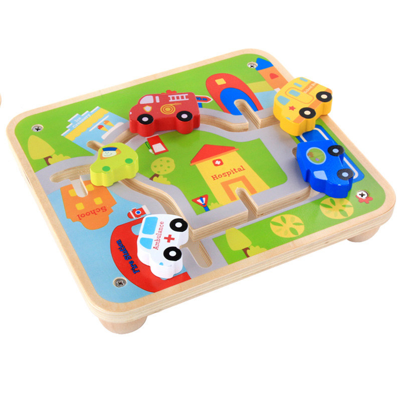 Wooden Urban Rail Cartoon Building Blocks Toys Vehicle Track Cars Kids Early Educational Toys For Baby