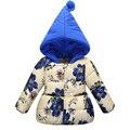2017 Cabritos de La Manera Abrigos de Invierno Niñas Chaqueta Con Capucha de Impresión Floral de los Bebés Chaqueta de la Capa Caliente para Las Niñas