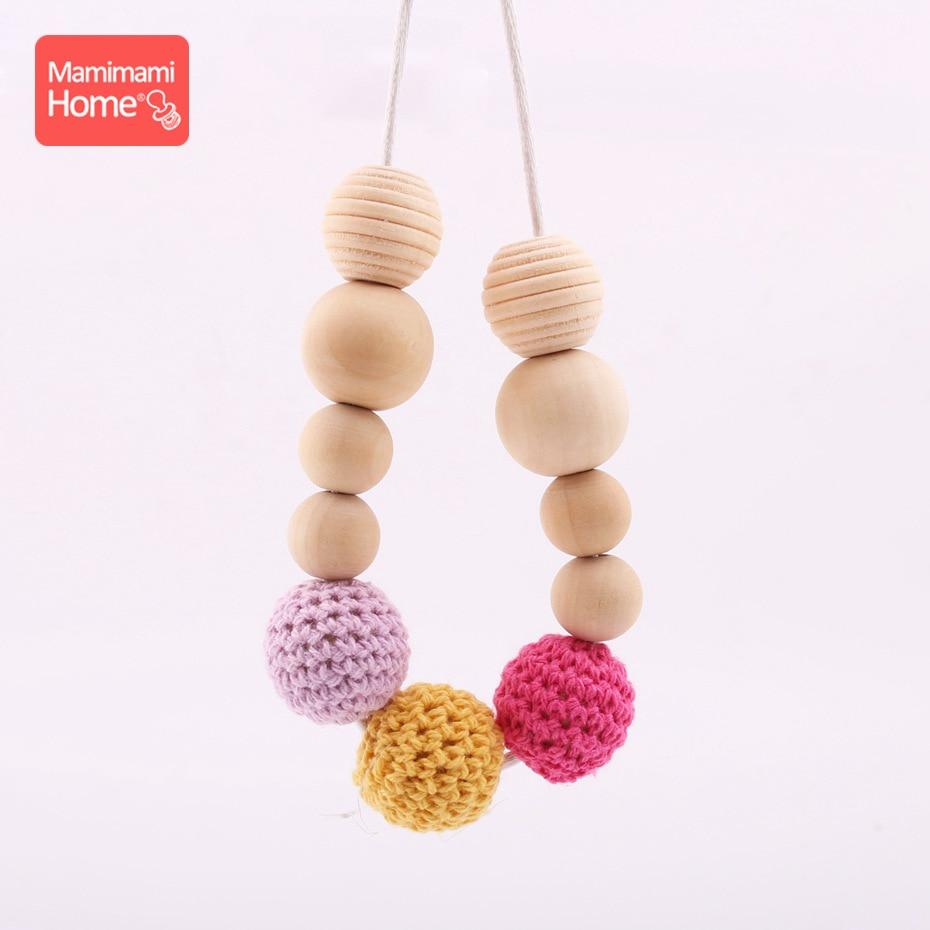 Mamihome bébé soins infirmiers collier en bois anneau de dentition perle de hêtre naturel bébé jouet de dentition fait à la main Crochet perles rondes articles pour enfants
