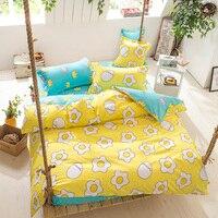2017 estilo moda huevo escalfado reina/full/Twin tamaño ropa de cama conjunto de ropa de cama set de cama edredón almohada