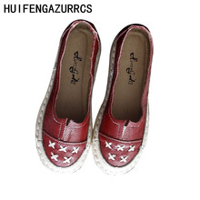 HUIFENGAZURRCS-Genuine leather women's shoes handmade singles shoe casual art Retro sen comfortable Soft Bottom shoes djsunnymix retro handmade martin shoes men 2018 new arrival casual genuine leather oxfords shoes soft comfortable