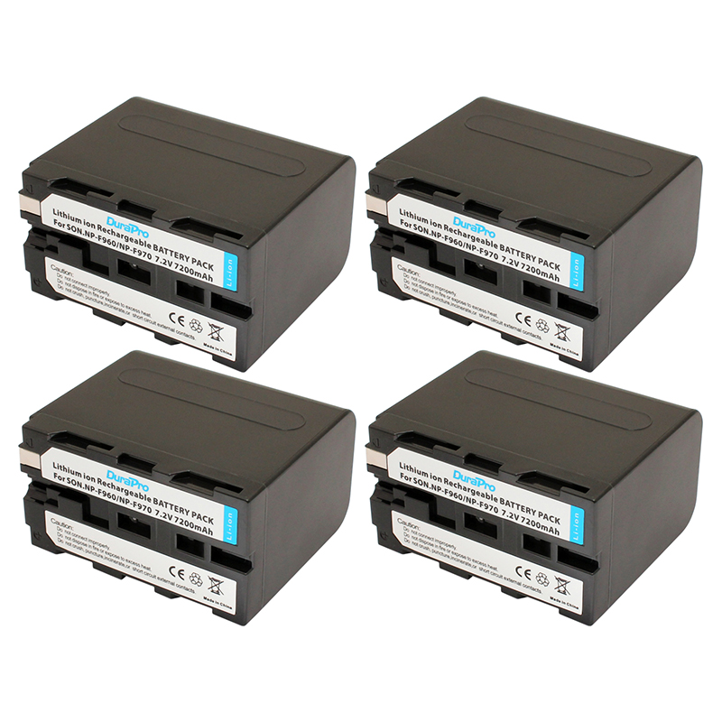 4pcs NP-F960 NP-F970 NP F960 NP F970 Battery 7200mah 7.2V For Sony F975 F970 F960 F950MC1500C 190P 198P F950 MC1000C TR516 TR555 4pcs 7200mah npf960 npf970 np f960 np f970 np f970 battery lcd rapid dual charger for sony f930 f950 f770 f570 f975 f970 f960