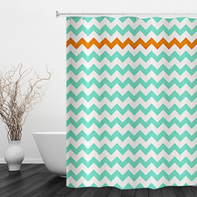 3 Colors Water Resistant Shower Curtain Polyester Fabric Geometric Pattern For Bathroom Decor 180 X 180cm New Arrival