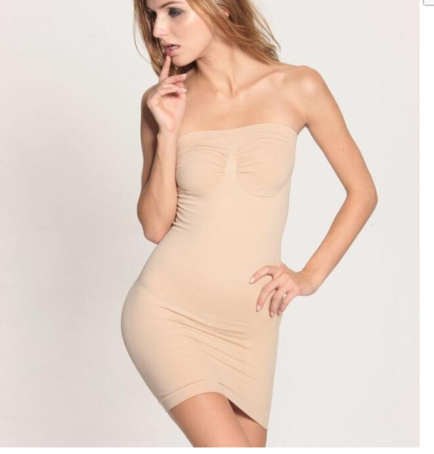 Mono de la ropa interior de las mujeres seamless tummy hip silm vestido superior del tubo sin tirantes envuelto cinta modeladora de corpo shaper de cuerpo completo