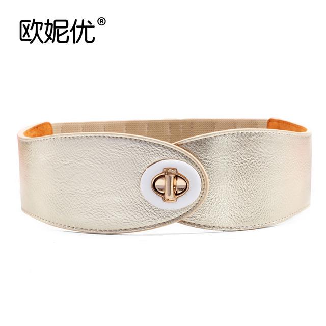 2016 Novos Casacos De Couro Stretch Cintura Coringa Feminino Decoração Cinto Largo Ocasional Da Cintura Grande Casaco Mulheres Elásticas Cintos B-4004