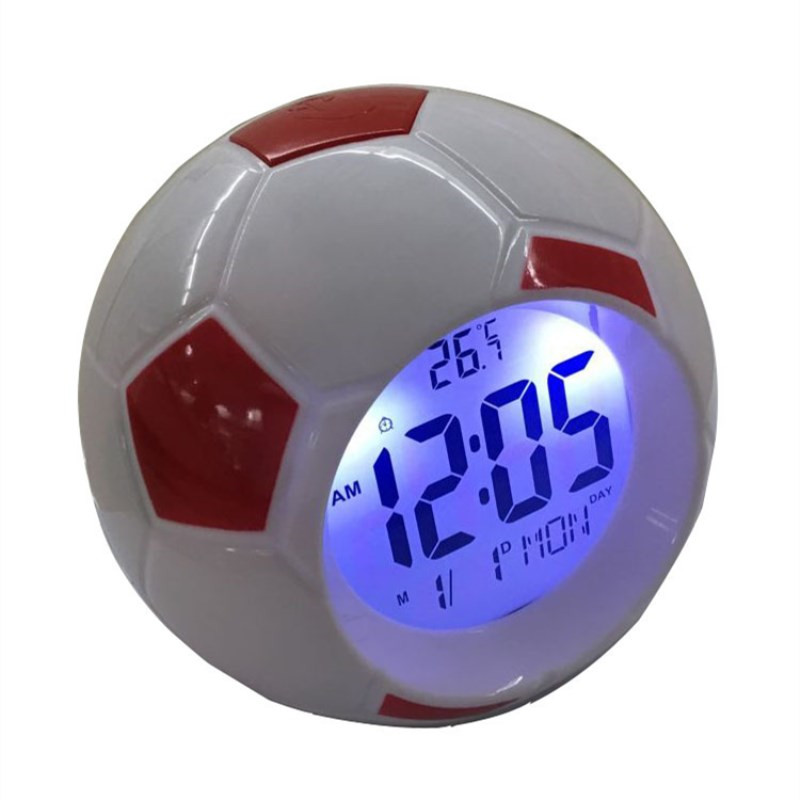 Led Night Light With Football Clock Digital Back Light LED Table Lamps Desk Soccer Alarm Clock For Bedroom Lighting Decoration