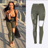 2016 Army Green Big Hole Skinny Jeans Women High Waist Jeans Women Slim Fit Ripped Denim