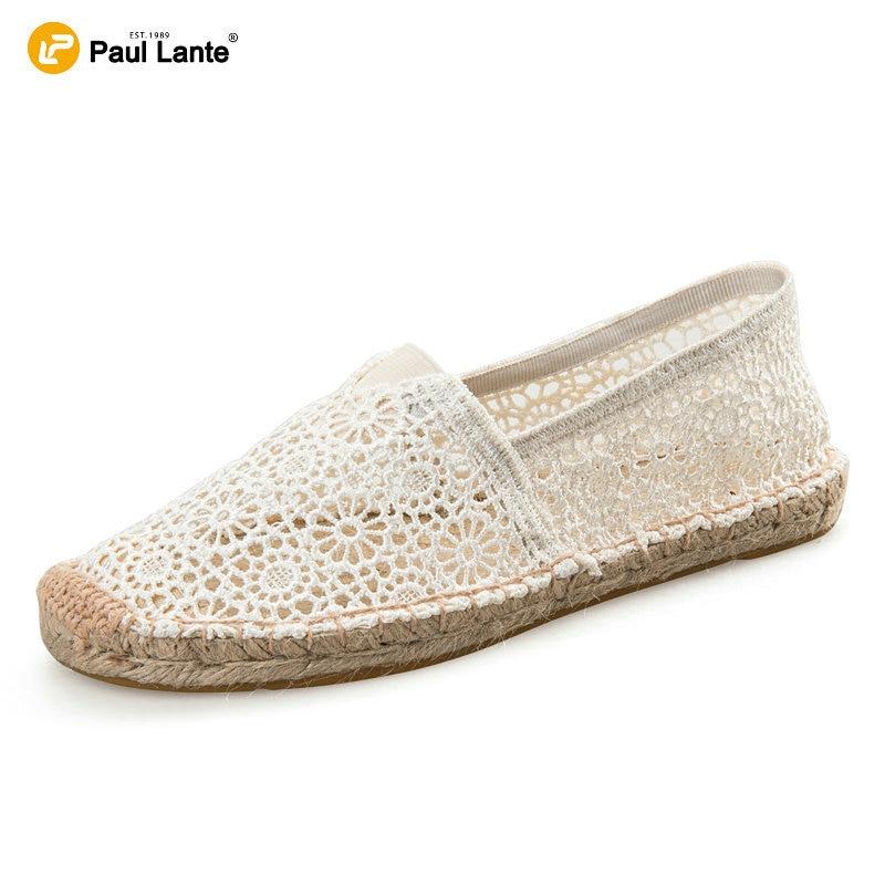 2016 verano ocasional de la lona de yute Natural plantilla resbalón en zapatos planos mujeres ahueca
